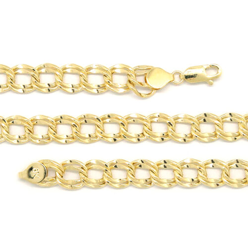 9K Yellow Gold Double Curb Necklace (Size 20), Gold wt 11.00 Gms.