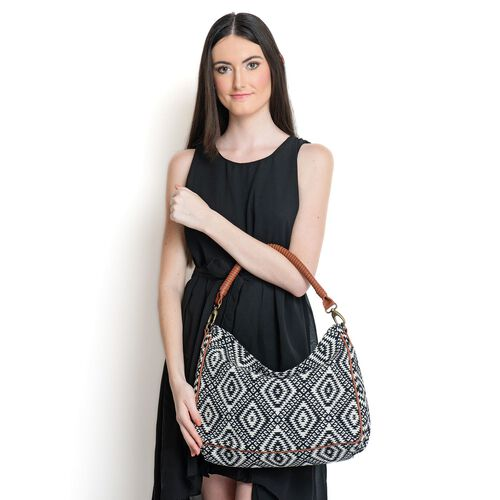 Black and White Colour Jacquard Handbag with Removable Strap (Size 44x25x10 Cm)