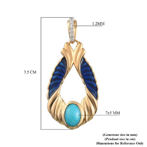 Arizona Sleeping Beauty Turquoise and Natural Cambodian Zircon Pendant in 14K Gold Overlay Sterling Silver