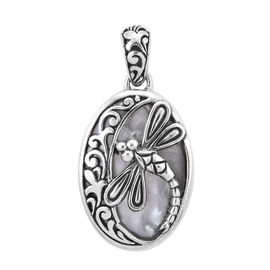 Bali Legacy Mabe White Pearl Dragonfly Pendant in Silver