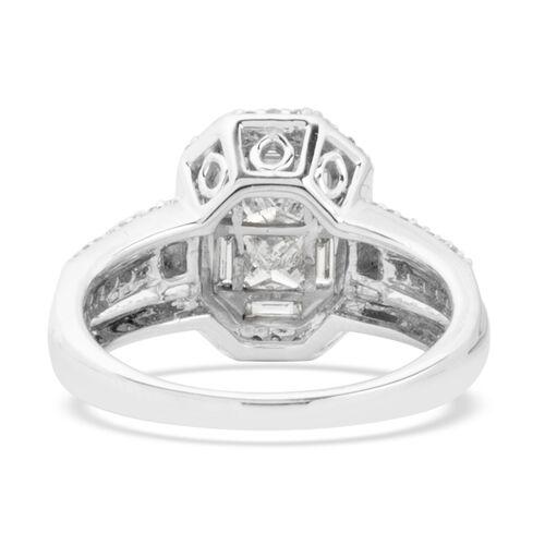 New York Close Out - 14K White Gold Diamond (Bgt & Rnd) (Princess Cut) (I1-I2, G-H) Ring 1.200 Ct., Gold wt 5.40 Gms.