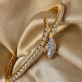 J Francis 14K Gold Overlay Sterling Silver Bangle (Size 7.5) Made with SWAROVSKI ZIRCONIA, Silver wt. 19.35 Gms