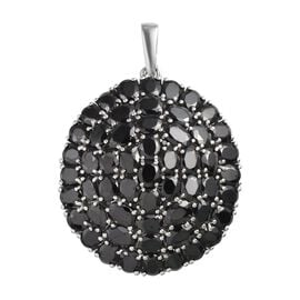 12.58 Ct Elite Shungite and Boi Ploi Black Spinel Cluster Pendant in Platinum Plated Silver