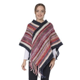 New Arrival Spring Style Striped Poncho with Black/Red Border and Tassel Hem