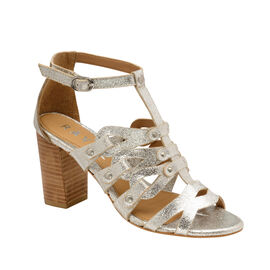 Ravel Jackson Leather Heeled Sandals in Silver Colour
