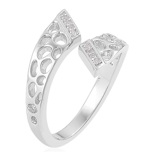 RACHEL GALLEY Lattice Crossover Ring in Rhodium Plated Sterling Silver