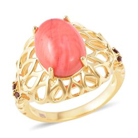 5.15 Ct Living Coral and Mozambique Garnet Solitaire Ring in Gold Plated Sterling Silver 5.13 Grams
