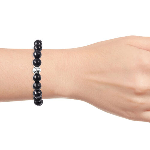Shungite Bracelet (Size Adjustable) in Sterling Silver 126.20 Ct.