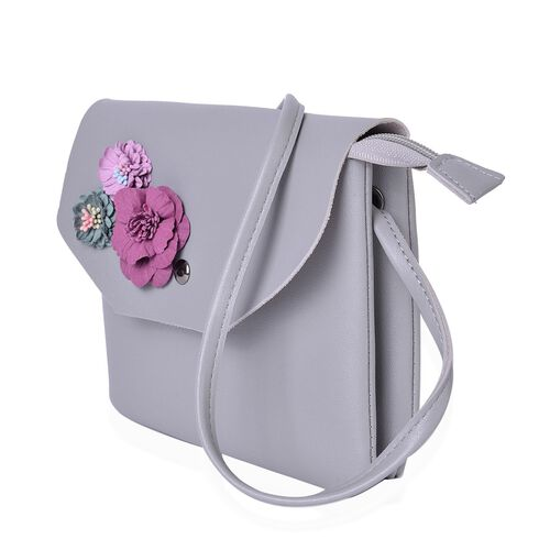 Handcrafted 3D Flowers Embellished Grey Colour Crossbody Bag (Size 19X17 Cm)