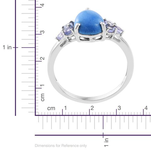 Ceruleite (Pear 2.20 Ct), Tanzanite Ring in Platinum Overlay Sterling Silver 2.750 Ct.