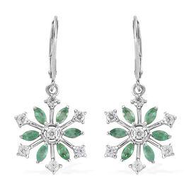 Cambodian Zircon (0.90 Ct),Kagem Zambian Emerald Platinum Overlay Sterling Silver Earring  1.650  Ct.