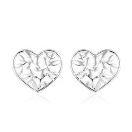 Sterling Silver Stud Heart Earrings (with Push Back)