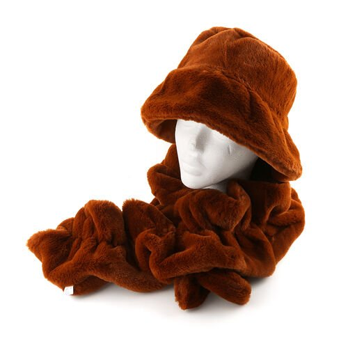 2 Piece Set - Faux Fur Bucket Hat (Size 17x74cm) and Wave Scarf (Size 15x150cm) - Brown