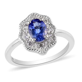 Tanzanite and Natural Cambodian Zircon Ring in Platinum Overlay Sterling Silver 0.88 Ct.