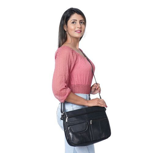 New Age - 100% Genuine Leather Crossbody Bag with Multiple Pockets and Adjustable Shoulder Strap (Size 31x24x10cm) - Black