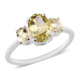 1.50 Ct AA Madagascar Yellow Apatite Trilogy Ring in Sterling Silver
