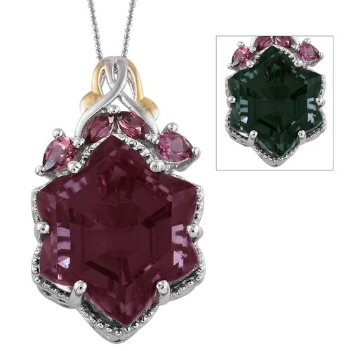 Colour Change Alexandria Quartz and Rhodolite Garnet Pendant with Chain in Platinum Overlay Sterling