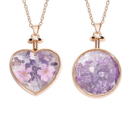 Set of 2 -  Amethyst (5.00 Ct) and Dry Flower Pendant with Chain (Size 24) in Gold Tone