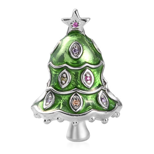 Simulated Yellow Sapphire and Multi Gemstone Enamelled Christmas Tree Charm in Platinum Overlay Ster
