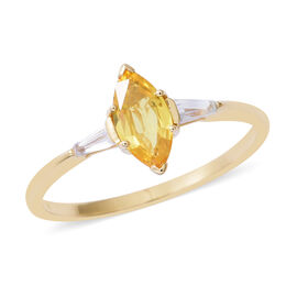 1.2 Ct AAA Yellow Sapphire and White Zircon 3 Stone Ring in 9K Gold 1.5 Grams