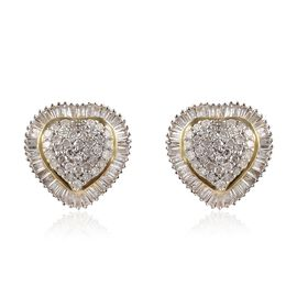 9K Yellow Gold SGL Certified Diamond (I3/G-H) Heart Stud Earrings (with Push Back)  0.75  Ct.