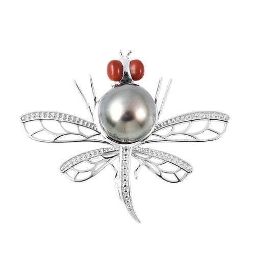 GP Fresh Water Peacock Pearl, Red Jade and Blue Sapphire Dragonfly Pendant in Rhodium Overlay Sterli