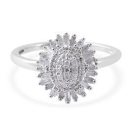 Diamond (Bgt and Rnd) Ring in Platinum Overlay Sterling Silver 0.50 Ct.