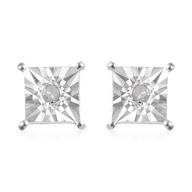 Diamond Solitaire Stud Earrings(with Push Back) in Sterling Silver