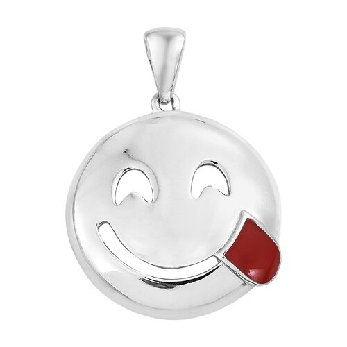 Savoring Food Face Smiley Pendant in Platinum Plated Silver