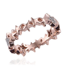 Natural Cambodian Zircon (Rnd) Ring in Rose Gold and Platinum Overlay Sterling Silver 0.240 Ct.