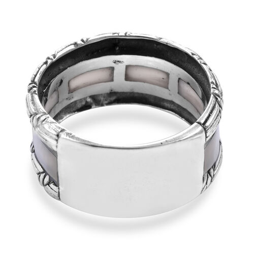 Royal Bali Collection - Mother of Pearl Eternity Band Ring in Sterling Silver, Silver wt 6.00 Gms