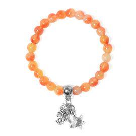 Orange Quartzite (Rnd), Bracelet (Size 7.5 Strechable) with Multi Charm in Silver Tone