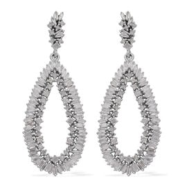 Diamond (Rnd) Earrings (with Push Back) in Platinum Overlay Sterling Silver 2.000 Ct, Silver wt 5.87 Gms, Number of Diamonds - 208.