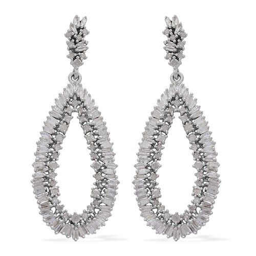 Diamond (Rnd) Earrings in Platinum Overlay Sterling Silver 2.000 Ct, Silver wt 5.87 Gms, Number of Diamonds - 208.