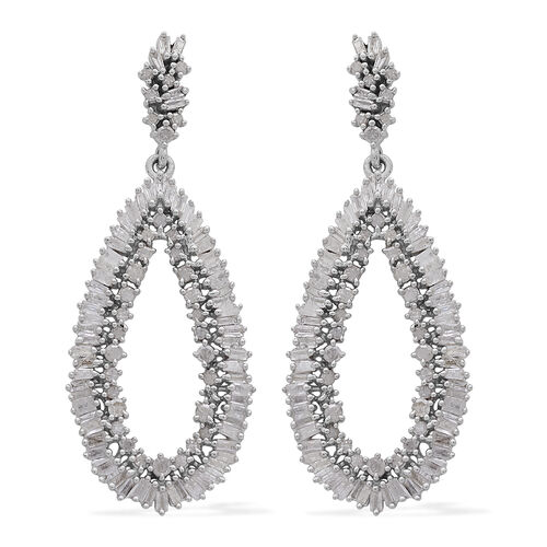 2 Carat Diamond Cluster Drop Earrings in Platinum Plated Sterling Silver 5.87 Grams