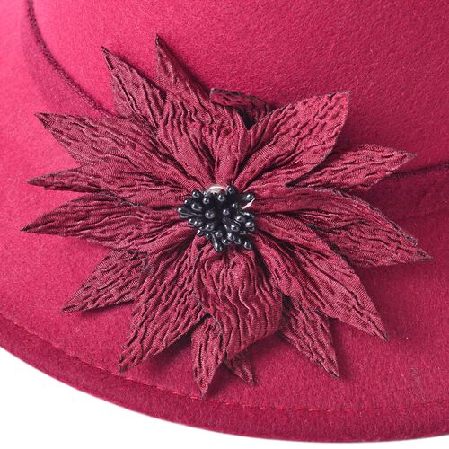Wine Red Colour Flower Adorned Hat (Size 16 Cm)