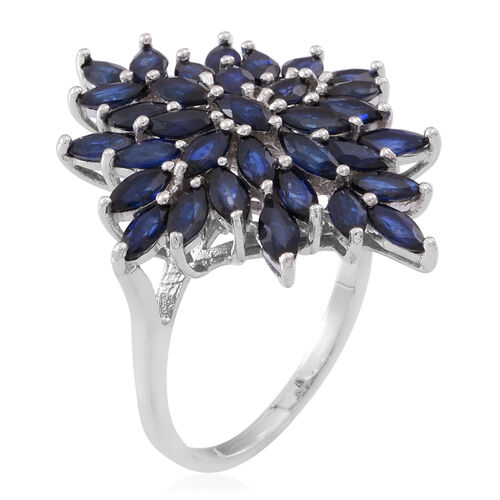 Kanchanaburi Blue Sapphire (Mrq) Cluster Ring in Rhodium Plated Sterling Silver 6.500 Ct.