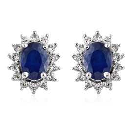 2.50 Ct Blue Spinel and Natural Cambodian Zircon Stud Earrings in Platinum Plated Sterling Silver