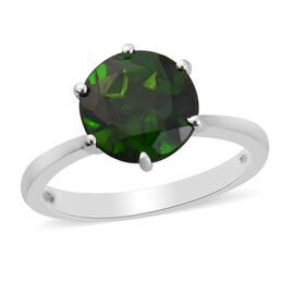 RHAPSODY 950 Platinum AAAA Russian Diopside Solitaire Ring 3.00 Ct.