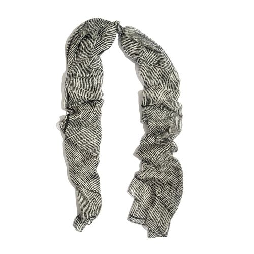 100% Mulberry Silk Grey Colour Abstract Pattern White Colour Scarf (Size 180x100 Cm)