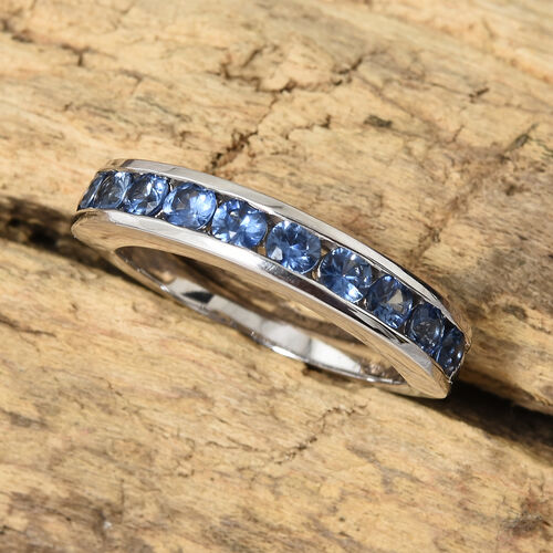 ILIANA 18K White Gold AAA Royal Ceylon Sapphire (Rnd) Half Eternity Band Ring 1.000 Ct. Gold wt 4.50 Gms.