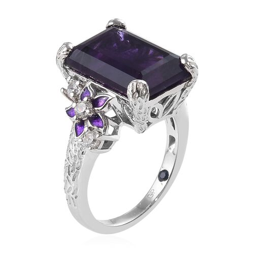 GP - Amethyst (Oct 14x10 mm), Natural White Cambodian Zircon and Blue Sapphire Enamelled Ring in Platinum Overlay Sterling Silver 7.75 Ct.