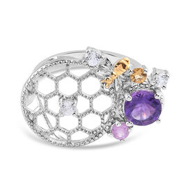 GP Italian Garden Leaf and Flower - Amethyst, Pink Sapphire and Multi Gemstone Ring in Platinum Over