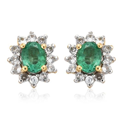 Limited Available- Premium Santa Terezinha Emerald (Ovl), Natural Cambodian Zircon Stud Earrings (with Push Back) in 14K Gold Overlay Sterling Silver 1.000 Ct.