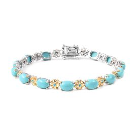 One Time Deal-Arizona Sleeping Beauty Turquoise (Ovl), Malgache Neon Apatite Bracelet (Size 7.5) in