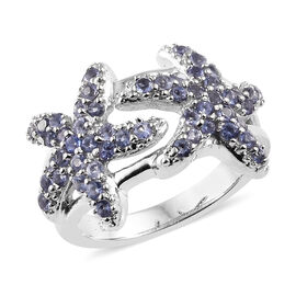 Iolite (Rnd) Star Fish Ring in Platinum Overlay Sterling Silver 0.750  Ct.