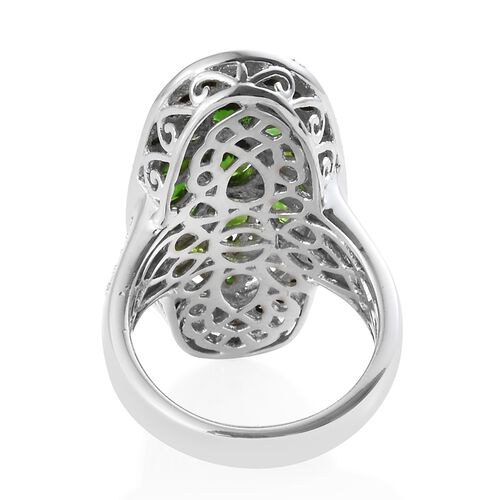 Russian Diopside (Ovl),Boi Ploi Black Spinel, Natural Cambodian Zircon Pond Ring in Platinum Overlay Sterling Silver 5.250 Ct., Silver wt 7.00 Gms.