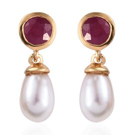 Freshwater Pearl and African Ruby Drop Earrings (with Push Back) in 14K Gold Overlay Sterling Silver