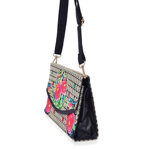 Fuchsia, Black and Multi Colour Floral Embroidered Crossbody Bag with Adjustable and Removable Shoulder Strap (Size 25x14.5x6 Cm)