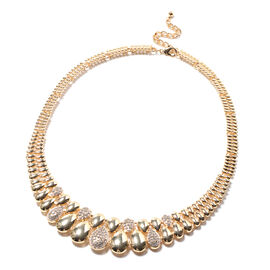 White Austrian Crystal Necklace (Size - 20 with 2 inch Extender) in Gold Tone